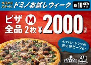 ドミノピザの2枚で1000円 ドミノお試しウィーク クーポン2020年8月10日まで